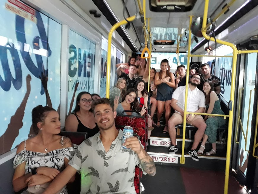 inside the newcastle party bus
