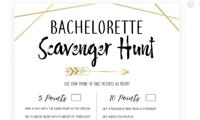 hens night game scavenger hunt